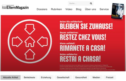 Ansicht Homepage
